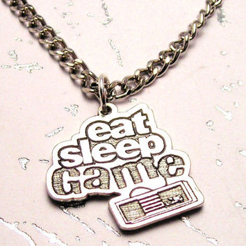 Eat Sleep Game Video Game necklace by MyTinyTemptations on Etsy