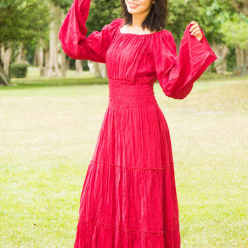 Gypsy Bohemian Dress -Boho Dress,Wide Sleeve Maxi Dress, Sundresses, Hippie dress, Gypsy Wedding Dress, Bell Sleeve, Peasant Dress,Plus Size