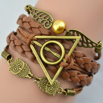 Harry Potter Braided rope, platted Synthetic Leather bracelet Snitch Angel Wings Owl AP = 1651173572