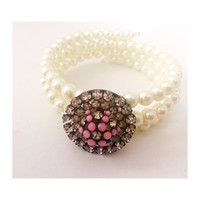 Stunning Rhinestone Vintage Button and Pearl Bracelet