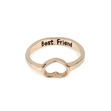 "gold Silver Rings For Women Heart Design ""best friend"" Vintage Silver Jewelry Cute/Romantic Ring For girlfriends Best Gifts"