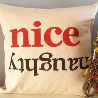 Naughty & Nice Hand Stamped Holiday Pillow Cover by JoshuaByOak