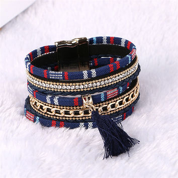 ~ Boho Fashion Multilayer Rhinestone Leather Tassel Bracelets ~
