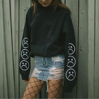 Frowny Face Long Sleeve Tee
