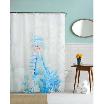 Christmas Kids Waterproof Polyester Bathroom Shower Curtain Decor With Hooks