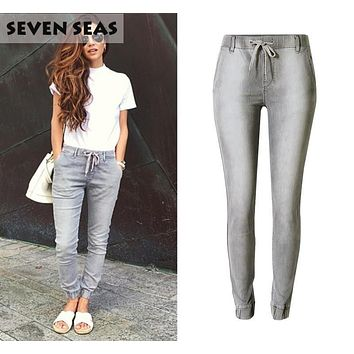 High Street Grey Elastic Waist Middle Rise Stretch Jeans Women Casual Loose Boyfriend Jeans Femme