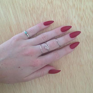 24 Matte Red nails, red stiletto nails, Matt press on nails, stiletto nails