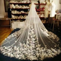 3 Metres veu de noiva 2016 Lace Edge Flowers Tulle Cathedral Wedding Veils Long Ivory/White Bridal Veils Wedding Accessories BV6
