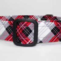 Red Black Plaid Dog Collar