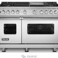 "VDSC548-4GQSS Viking 48"" Custom Sealed Burner Dual Fuel Pro Style Range with 4 Burners, Griddle & Grill - Stainless Steel"