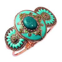 Copper-tone Teal & Green Glass Stones w/ Teal Enamel Bangle BF1136