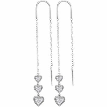 10kt White Gold Women's Round Diamond Triple Dangling Heart Threader Earrings 1-5 Cttw - FREE Shipping (US/CAN)