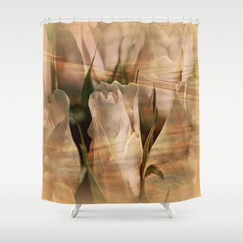 Vintage Water Rose Abstract Shower Curtain by Judy Palkimas