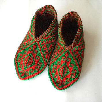 red and green Turkish traditional Handmade Knitted Socks Slippers, ladies booties, womens slippers, house shoes valentines gifts for her