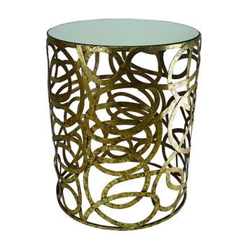 Dr. Livingstone I Presume DLT109IGLD Italian Gold Multi-Scroll Round Side Table with Mirror Top