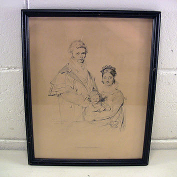 Vintage Ingres Etching Drawing Fine Art Print Rome 1815