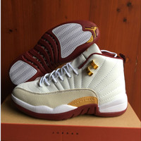 Air Jordan 12 Retro AJ 12 White/Wine Red Men Women Basketball Shoes
