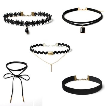 5 Pieces Choker Necklace Set Stretch Velvet Classic Gothic Tattoo Lace Choker