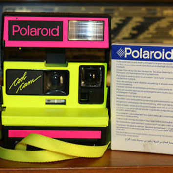 Vintage Polaroid 600 Neon Cool Cam Yellow and Pink w/ Film!  Tested!  See Pics!