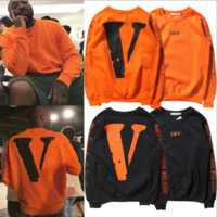 Vlone x off white Men and women round neck long sleeve sweater[10058791943]