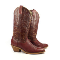 Women's Cowboy Boots Vintage 1980s Whiskey Brown size 10 Dingo