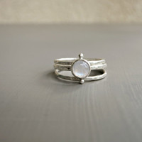 Small Rainbow Moonstone Ring Set - Modern Silver Ring Set - Sterling Silver Gemstone Ring - Bezel Set Stack - Silversmithed