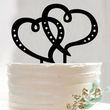 1pcs Double Heart Creative Customized Acrylic Cake Topper