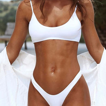 White Solid Scoop Neck Bikini Set