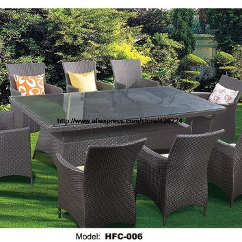 Promotion Large Size 9 PCS Outdoor Meeting desk Table chairs Set balcony Garden furniture Leisure Vine chairs table Combination