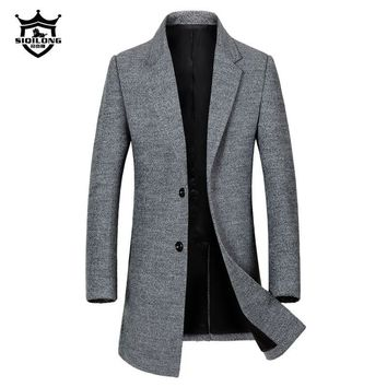 Winter 32% wool Coat Men Casual Long Double Breasted Windbreaker Plus size 3XL Fashion Business thicken trench Coat 090404