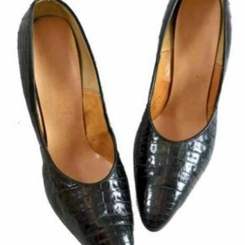 Vintage Womens Shoes Black Alligator Stiletto Heels Pumps The Balta Size 9 1950s