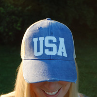 USA Distressed Hat - Royal Blue
