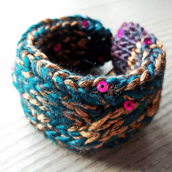 Upcycled Plastic Bottle Fiber Bracelet - Teal and Gold Knit Cable Bracelet with Pink Sequins and Gold Tone Toggle Clasps - Recycled Plastic