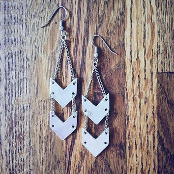 SIlver Chevron Chain Earrings