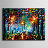 Hand-Painted Modern Abstract Oil Painting Night Scene Landscape Oil Painting on Canvas Wall Art  for  Home Decor Living Room