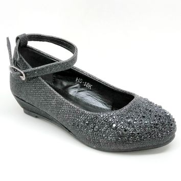Girl's Black Color Wedge with Rhinestones and Buckle