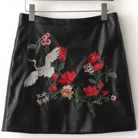 Black Floral PU Skirt