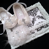 Christening Shoes & Headband Set, Shabby Chic, White flowers with glitter cross detail, Baptism, Hair accessory, Christening accessory