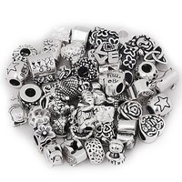 Pack of 10 Antique Silver Tone European Style Charm Beads. Fits Most Major Charm Bracelets.