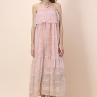 Pinky Ethereal Off-shoulder Maxi Dress