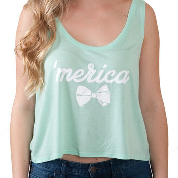 Ladies 'Merica Bow' Boxy Tank Top
