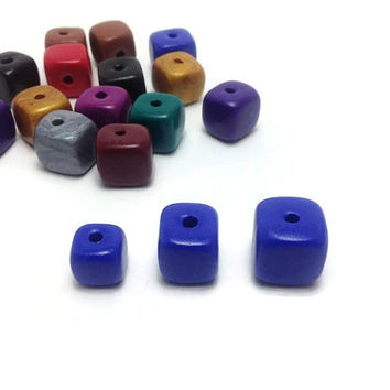Polymer Clay Beads, Handmade Beads, Square Beads, 3 Different Sizes, DIY Jewelry, Craft Supplies, Variety of Colors