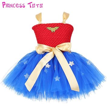 Batman Dark Knight gift Christmas Wonder Woman Superman Girl Birthday Party Tutu Dress Baby Kids Batman Cosplay Holidays Tutu Dresses Girls Halloween Custom AT_71_6