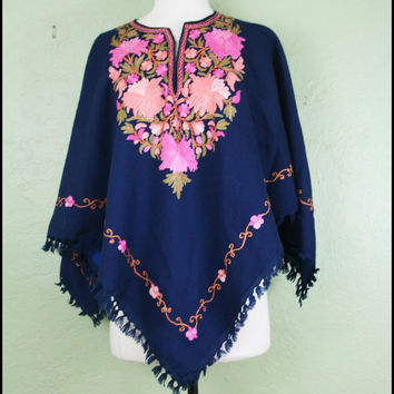 Vintage '70s Hippie Poncho// Floral Embroidered by StoriesForBoys