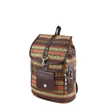 Red Tribal Print Backpack