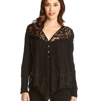 Karen Kane Lace Inset Crushed Blouse