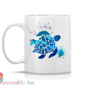 Coffee Mug, Ceramic Mug, Sea Turtle Mug, Unique Coffee Mug Gift, 11oz or 15oz, Watercolor Art Print Mug, Two-Sided Print, Coffee Lover