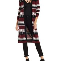 Stripe and Marled Duster Cardigan by Charlotte Russe