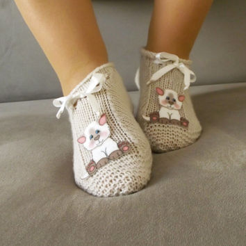 Cat Slippers Knit House Slipper, Home Slippers, Womens Crochet Shoes, Home shoes