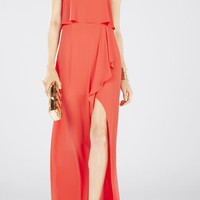 Red BCBG Felicity Asymmetrical Front Slit Strapless Gown